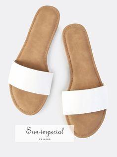 981d8afa1aa3e2 Faux Leather Slip On Sandals WHITE - sale