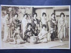 Japanese Antique Postcard Geisha Kimono Kanzashi Shamisen Photograph Japan | eBay