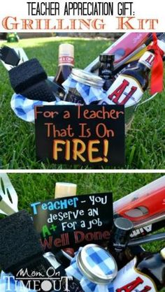 Teacher Appreciation Gift Idea: Grilling Kit | MomOnTimeout.com A fun teacher appreciation gift idea for a male teacher! by carrie