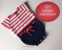 Tutorial paso a paso para hacer un pelele marinero de punto para bebé (patrón gratis) Knitting For Kids, Baby Knitting Patterns, Crochet For Kids, Baby Patterns, Crochet Baby, Knit Crochet, Baby Body, Baby Booties, Baby Dress