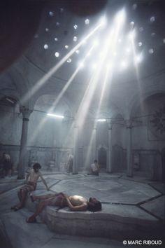 80.  Marc Riboud. Istanbul, 1955. I  Cagaloglu, près de la mosquée bleue dans le plus vieil hammam d' Istanbul.