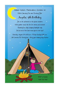 Camping Girl in Tent Invitations Bonfire Camp Out Sleepover. $29.25, via Etsy.