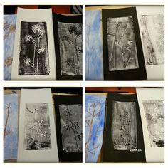 Talventörröttäjä kuvis Sunnitelmasta toteutukseen. Press print-painanta,  talventörröttäjät. Mustaa valkoiselle ja valkoista mustalle. 2.lk AHP