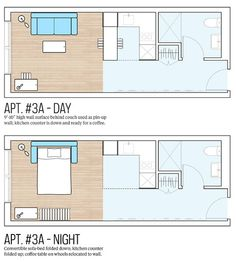 NYC Announces Micro-Apartment Design Comp Winner - Micro Apartment, Small Apartment Design, Studio Apartment, Apartment Therapy, Bungalow, Apartment Floor Plans, Small Apartment Plans, Student House, High Walls