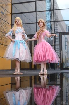 Cute Barbies Odette and Clara on #Starcon 2016  Dresses by Anastasia Lion