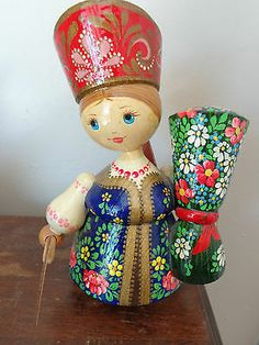 Vintage Hand Painted Wood Doll Russian Dutch Bepckou Artist Signed Beautiful   eBay