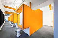 They're All Smiles: AB Design Studio Designs A Whimsical Pediatric Dentistry Office | ABS plastic stools and Jasper Morrison chairs provide parental seating. #design #interiordesign #interiordesignmagazine #medical