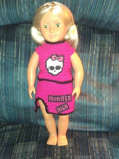 My granddaughter in Nevada loves Monster High. She also loves her OG doll. She requested a cheerleader outfit with the Monster High logo. This is the final result. I used plastic canvas for the skull and words. Love Monster, Monster High Dolls, Og Dolls, Cheerleading Outfits, Plastic Canvas, Nevada, My Girl, Love Her, The Past