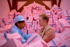Looking at the colour pallet of Wes Andersons film The Grand Budapest Hotel, for the labelling.