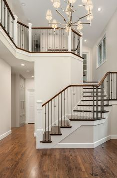 Gorgeous Remodel of the stairs to create an open appealing entry! Nickel balusters, hardwood treads and new handrails all carefully selected! Home Stairs Design, Dream Home Design, Interior Design Living Room, Interior Decorating, Interior Stairs, House Design, Interior Designing, Room Interior, Design Design