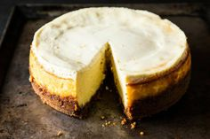 Meyer Lemon Cheesecake with Biscoff Crust--For my lemon cheesecake, I used Biscoff cookies for the crumb crust, instead of the usual graham crackers. Biscoff have a deeper, more molasses taste that suits the Meyer lemons well.