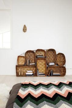 baskets as shelves - great idea!