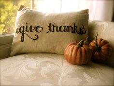 Give Thanks Scripted Thanksgiving Pillow Cover in Natural Linen. $15.00, via Etsy.
