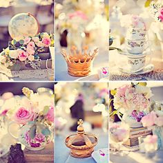 Alice in Wonderland Themed Wedding: stacked teacups, crown with ace of hearts menu, and flowers