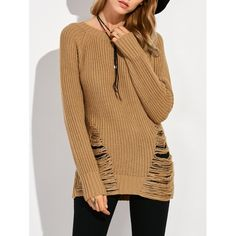 25.34$  Buy here - http://dizfb.justgood.pw/go.php?t=202964406 - Crew Neck Ripped Sweater 25.34$
