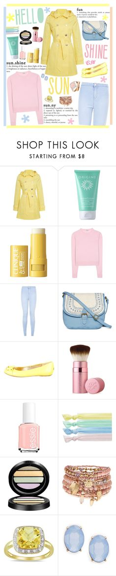 """Pretty Pastel Trench Coats."" by shiningstars17 ❤ liked on Polyvore featuring Lauren Ralph Lauren, Origins, Clinique, Miu Miu, New Look, T-shirt & Jeans, Jimmy Choo, Too Faced Cosmetics, Essie and Ribband"