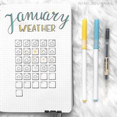 """32 Gostos, 3 Comentários -  BULLET JOURNAL IDEAS  (@bujo.ideas1) no Instagram: """"such a simple and pleasing #weathertracker by @nini.journal !!!! blue and yellow are perfect…"""""""