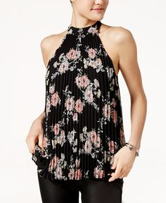 Lily Black Juniors' Pleated Floral-Print Halter Top, Only at Macy's