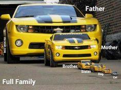 Bumblebee Camaro has kids! Chevrolet Camaro, Chevy Camaro, Us Cars, Sport Cars, 3008 Peugeot, Peugeot 206, R35 Gtr, Chevy Girl, Futuristic Cars