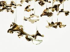 Leaves by Jasmin Rowlandson - Haberdashery Portfolio - The Dots Metal Wall Decor, Metal Wall Art, Cool Lighting, Chandelier Lighting, Ceiling Lamp, Ceiling Lights, Roman Clock, Metal Clock, Large Chandeliers