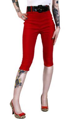 DEADLY DAMES RED CAPRI PANTS