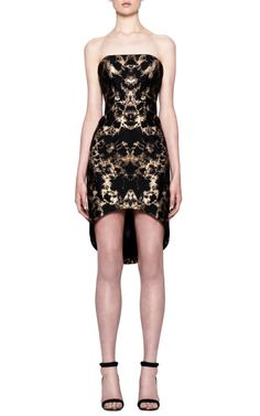 Gold Marble Jacquard Black New Evening Strapless Dress by Josh Goot