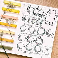 Amazing floral banner step by step by @art_love98  #notebooktherapy  Find all of our notebooks and more on our store (link in bio!) - #bulletjournallove #bulletjournal #bujo #bujoweeklyspread #bujoideas #bujoinspiration #doodleart #stationeryaddict #stationerylove #studygram