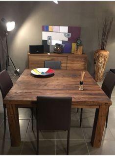 Tavolo in legno massello di castagno antico quadrato ARTHUR