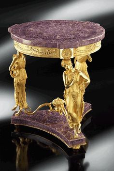 Crafted and designed according to the ancient Florentine techniques, Baldi classic furnitures give shape to dreamlike interiors Dancing Venus round table with prongs in amethyst and gold plated bronze Classic Furniture, Luxury Furniture, Decorative Accessories, Decorative Items, Antiques Value, Baroque Design, Classic Artwork, Luxury Interior Design, Table