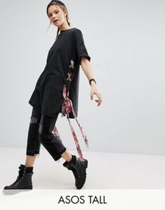 ASOS TALL T-Shirt With Floral Tie Sides