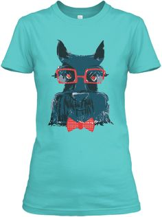 Cute & Quirky illustrated Scottish Terrier T-Shirt in Turquoise & more by Jess Jansen of Happy Studio. DAY SALE ONLY - off all proceeds go to an animal rescue shelter or welfare organisation in need* Happy Studio, Scottie Dog, Hipsters, Giving Back, Graphic Design Illustration, Cute Shirts, Style Guides, Animal Rescue, Character Design