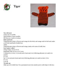 Knitting pattern for tiger hand puppet - Knitting Animal Knitting Patterns, Puppet Patterns, Christmas Knitting Patterns, Craft Patterns, Knitted Bunnies, Knitted Dolls, Knitted Animals, Knitting Stitches, Free Knitting