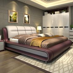 High Quality Bedroom Furniture, Genuine Leather Bed ONLY With Storage