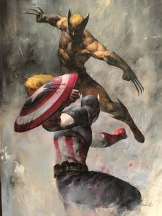 Wolverine vs Captain America Fan Art by Puppeteer Lee Arte Dc Comics, Marvel Comics Art, Marvel Comic Universe, Comics Universe, Marvel Heroes, Marvel Avengers, Rogue Comics, Marvel Wolverine, Wolverine Vs Captain America