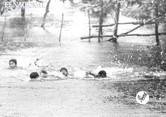 En Biruaquita, a la salida de San Biruaca, 7 Km de San Fernando de Apure, estos infantes vienen a nado desde su casa hasta la carretera. 17-08-1969. (EDMUNDO PÉREZ / ARCHIVO EL NACIONAL).
