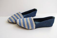 Handmade nautical blue and white stripes upcycled jean leather and linen canvas ballet flat shoes-made to order on Etsy, 55,00€
