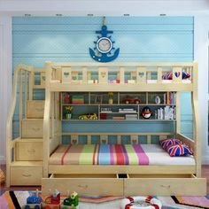 bed for boys on sale at reasonable prices, buy Webetop Kids Beds For Boys And Girls Bedroom Furniture Castle Bunk Bed Children's Twins Double Single Loft Bed from mobile site on Aliexpress Now! Kids Beds For Boys, Bunk Beds For Boys Room, Adult Bunk Beds, Bunk Beds With Stairs, Kid Beds, Loft Beds, Single Loft Bed, Cama Junior, Modern Bunk Beds