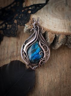 Wire wrapped pendant Wirewrap pendant Wire wrapped necklace gift for her gift…                                                                                                                                                     More