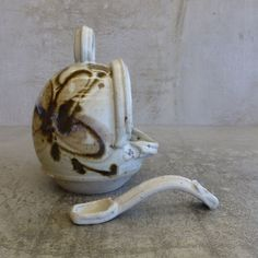Small Handcrafted Salt Cellar (or salt pig) with matching spoon. Australian Pottery.