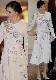 "princesadeasturias: ""Queen Letizia stunning in a 96 euro ASOS dress on the second day of the Chinese State Visit to Spain. Spring Dresses, Day Dresses, Asos Dress, Dress Up, Elegant Dresses, Nice Dresses, Modest Fashion, Fashion Dresses, Desi Wedding Dresses"