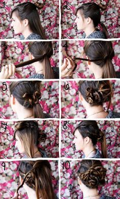 Here's how to style a twisted bun: 1. Pull half of hair up in a rubber band. 2. Put bottom half of hair in a low ponytail. 3-4. Take a small section of hair and twist it until it curls naturally into little 'twists'. 5-6. Pin your pieces and continue until the entire bottom ponytail is covered in twists. 7-8. Let the top part of your hair down. Twist the sides and cover the back 'bun' with more twisted pieces. 9-10. Twist in the top pieces, pulling them from side to side to create variety. Spray and pin any loose pieces.♥