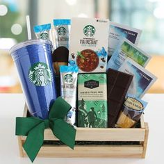 Give the ideal gift to any Starbucks fan you know with this Sweet Sensation Gift Crate. Featuring an assortment of drinks and treats your loved ones can welcome the feel of a coffeehouse into their own home. Starbucks Gift Baskets, Coffee Gift Baskets, Coffee Gifts, Starbucks Gift Ideas, Starbucks Iced Coffee, Starbucks Siren, Starbucks Logo, Starbucks Tumbler, Starbucks Birthday