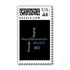 This is a REAL postage stamp it has been approved by the US POSTAL SERVICE. This is my newest design....Ending Neurofibromatosis (NF) through Research TM - This is my new crossword design since the Puzzle pieces represent NF. Portions of royalties  given to  http://www.ctf.org/