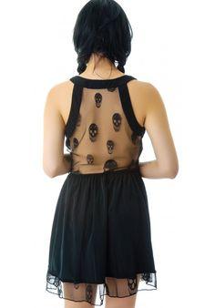 honey punch mint button down dress #skull #sheer