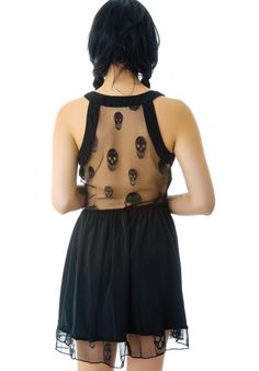 Honey Punch Skull Mesh Back Dress ~ Dolls Kill