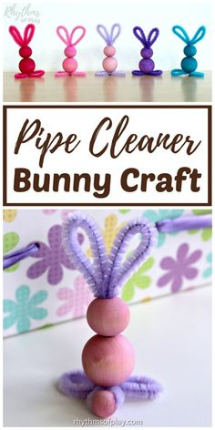 Easy Bunny Craft, Easy Bunny Crafts for Kids and adults. Pipe cleaner crafts, like this easy bunny craft made with chenille stems and wooden beads, are simple crafts fo. Easter Crafts For Adults, Easter Arts And Crafts, Easter Crafts For Kids, Preschool Crafts, At Home Crafts For Kids, Rabbit Crafts, Bunny Crafts, Spring Toddler Crafts, Pipe Cleaner Crafts