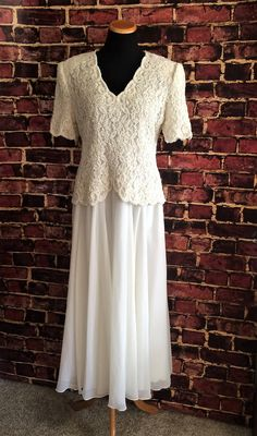 Lovely 1980's Beaded Lace Wedding Gown / Dress, XL by CobbWebbTreasures on Etsy