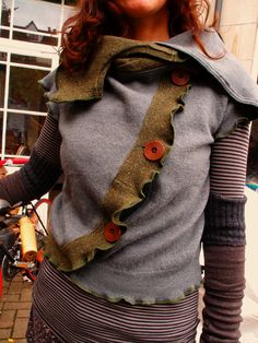 Upcycled Felted Vintage Merino Cardigan / Gilet with high Snood Collar and Toggle fastenings. Size M. £95.00, via Etsy.