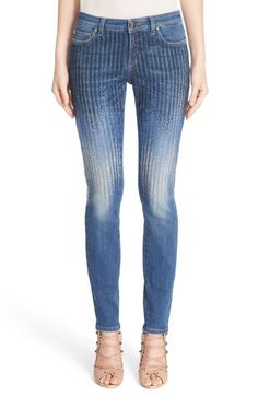 Versace Sparkle Stripe Embellished Skinny Jeans available at #Nordstrom