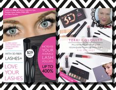 Younique Blitz Cards, Younique Marketing cards, Younique pink and green blitz cards, Younique calling cards, Younique 3D+ Lash Mascara cards by TheWrightInvite on Etsy